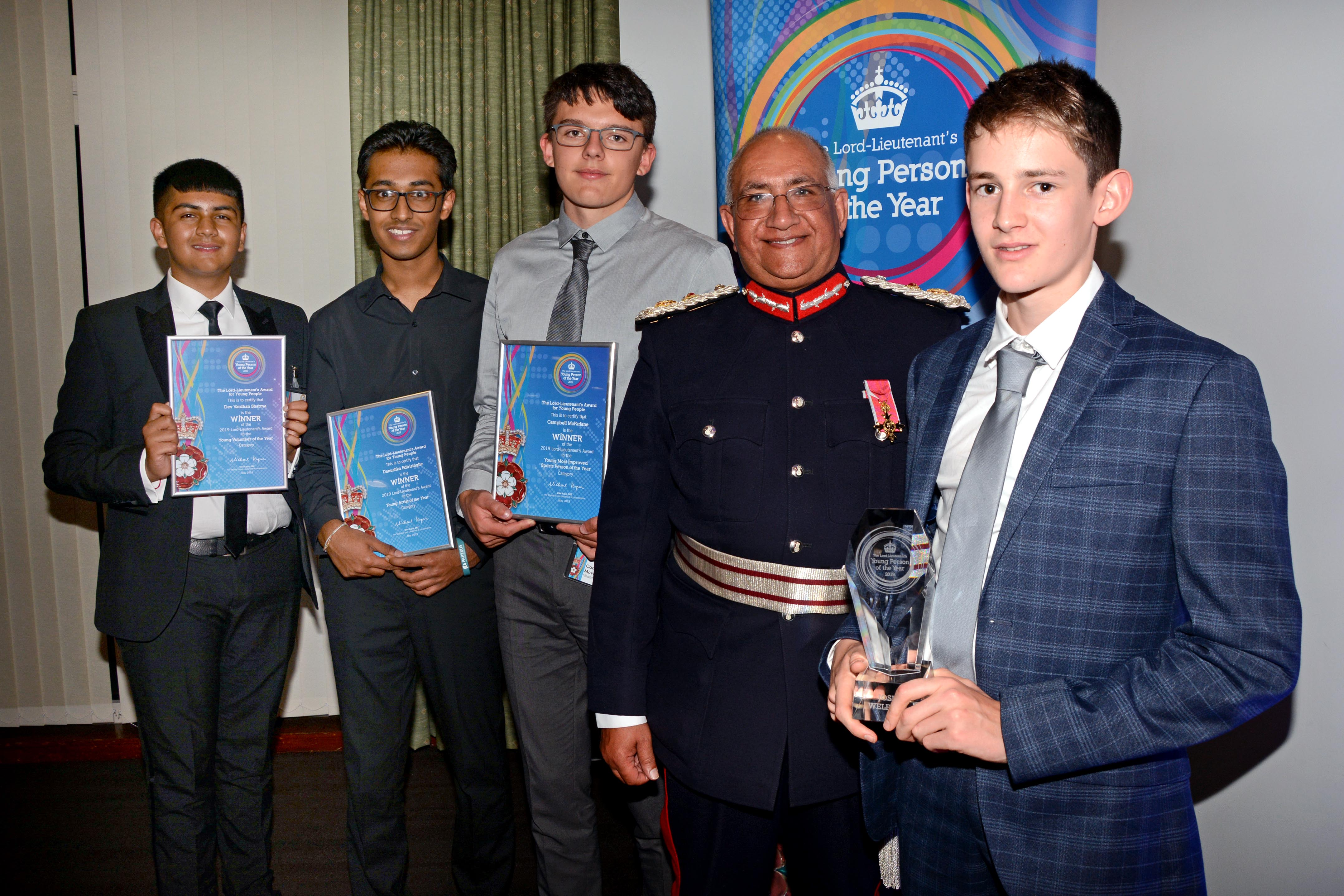 The category winners from The Lord-Lieutenant's Award for Young People 2019