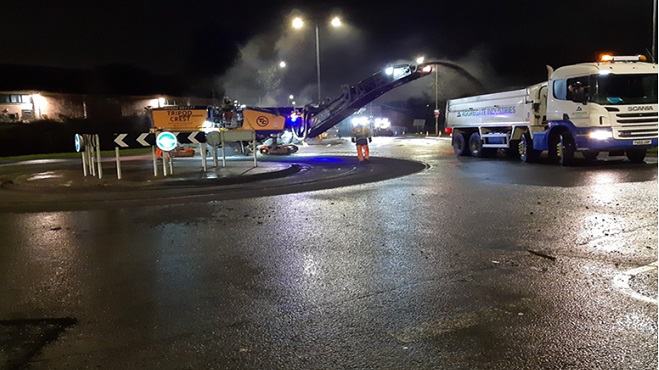 Milling of the existing road surface at the A426 roundabout with Leicester Road towards Glen Parva, prior to re-laying new asphalt