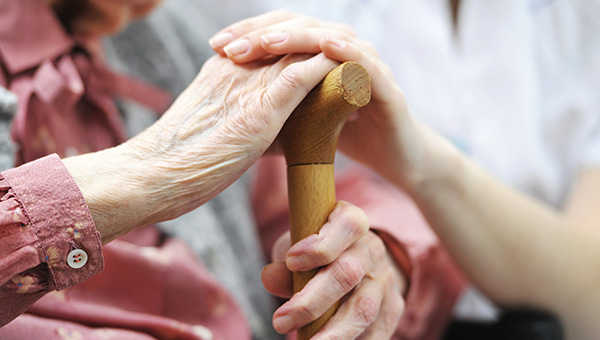 Image of two hands holding walking stick