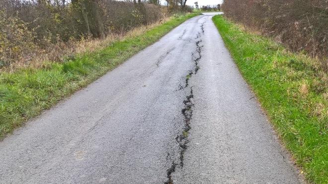Castle view road, Easthorpe resurfacing, before