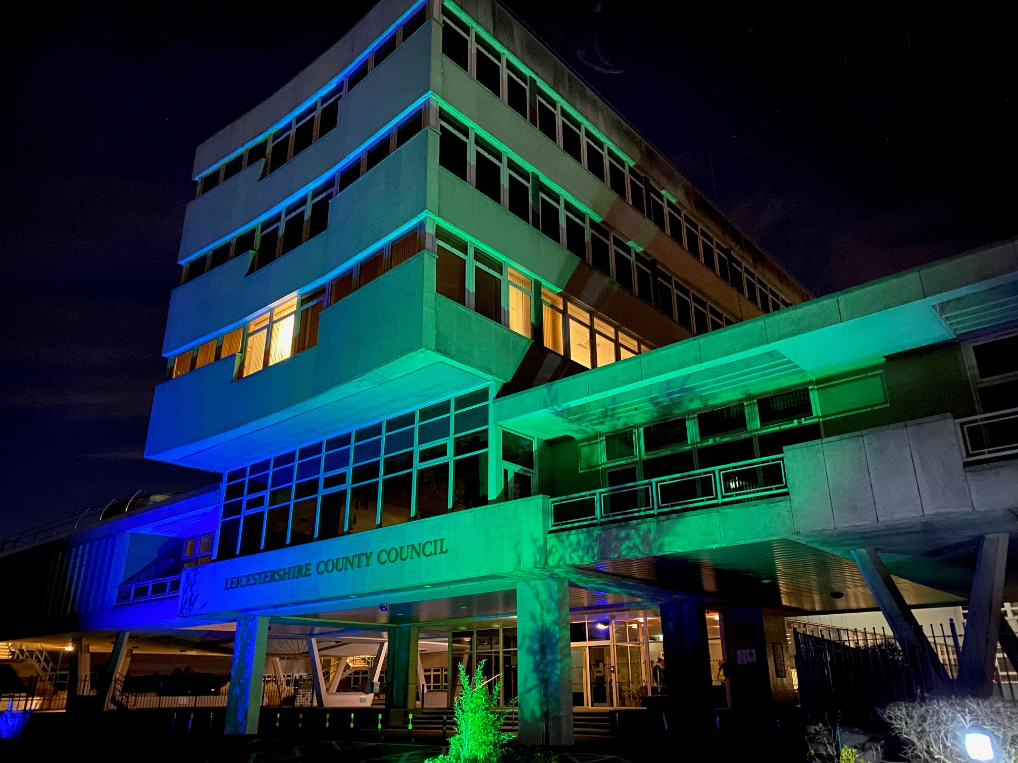 County Hall in blue and green