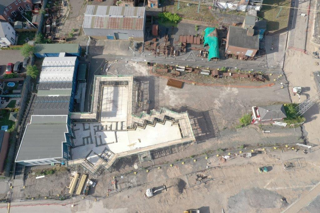 Aerial shot of cafe being built at Snibston
