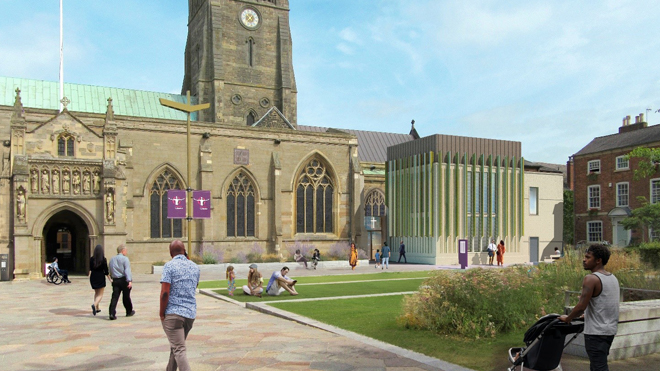 View of proposed heritage learning centre from Cathedral Gardens, Leicester