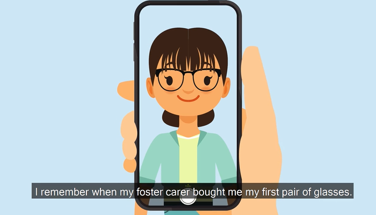 Cartoon of dark haired girl taking a selfie of her wearing her new glasses