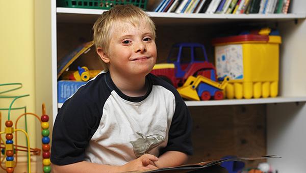 child reading at school