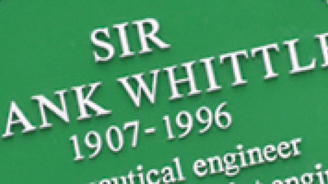 Group of people outside Green Plaque for Sir Frank Whittle