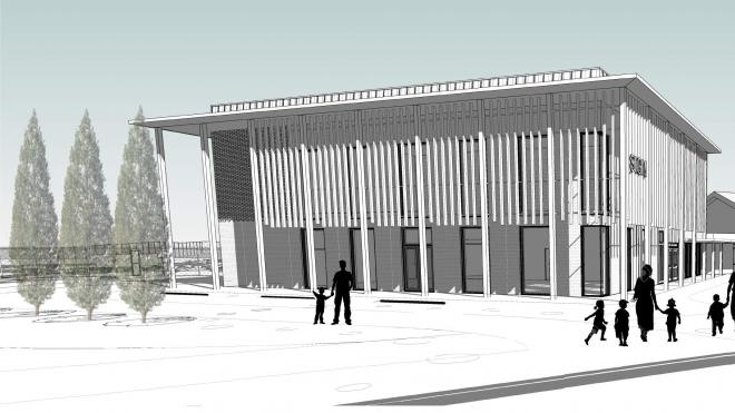 Artist's impression of New Lubbesthorpe Primary school building