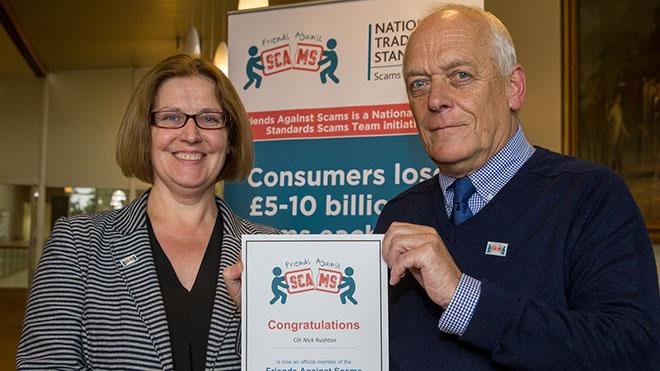 Council leader Nick Rushton with Trading Standards Institute rep