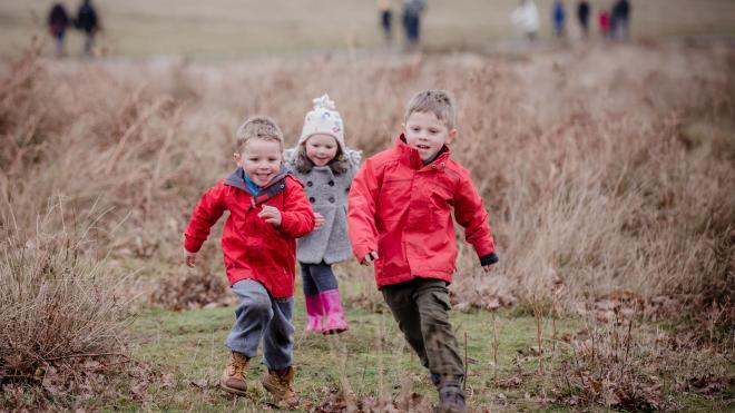 Young children running