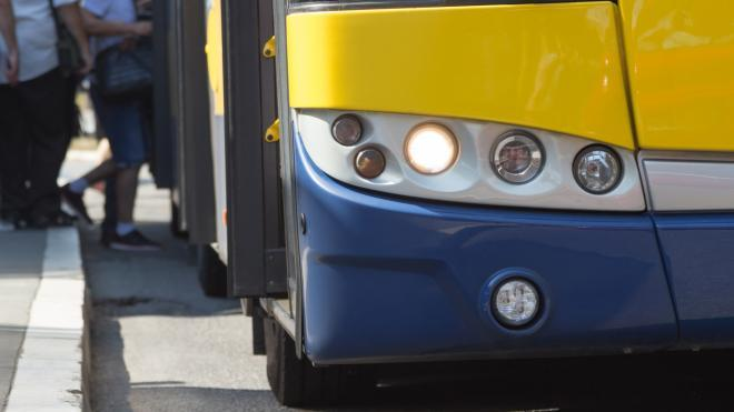 Image of the front corner of a bus