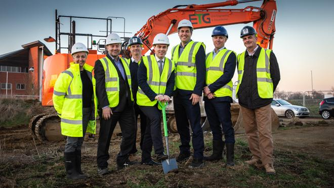 Building work has started at Airfield Business Park which is set to create hundreds of jobs