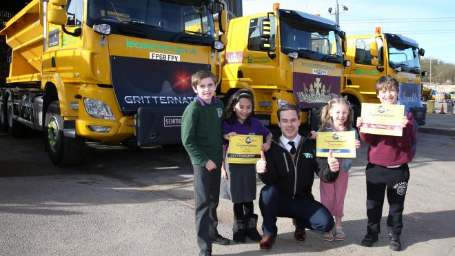 The council's three new gritters have been named by schoolchildren from Leicestershire