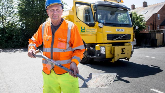 Leicestershire County Council worker road dusting