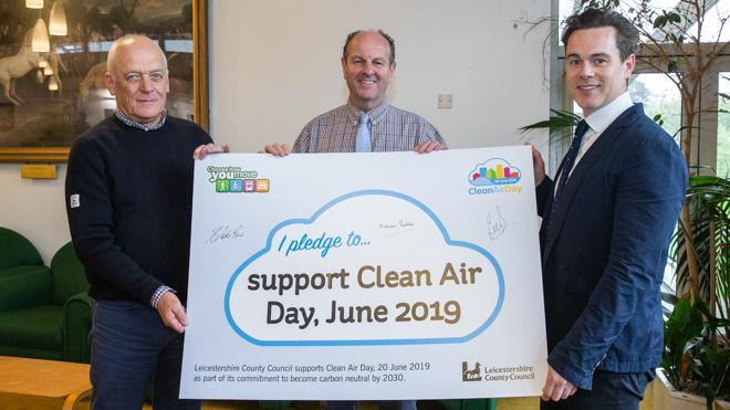 Councillors and pledge board for Clean Air Day