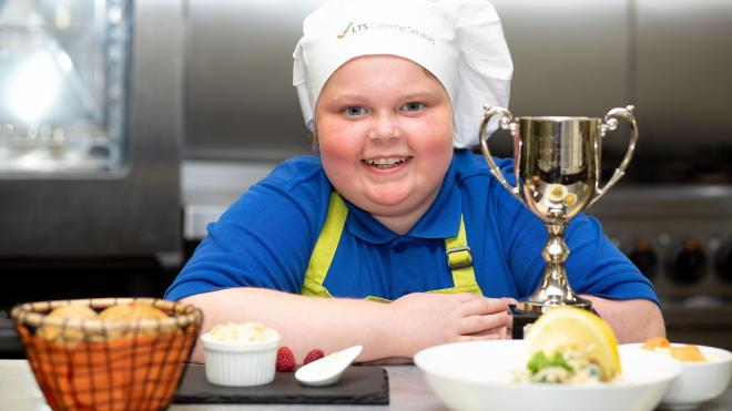 Pupil with her Junior Chef of the Year trophy