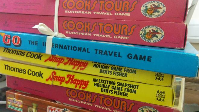 Picture of stack of Thomas Cook board games