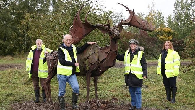 Elk statues at Snibston