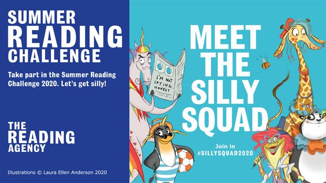 Summer Reading Challenge logo and Silly Squad characters