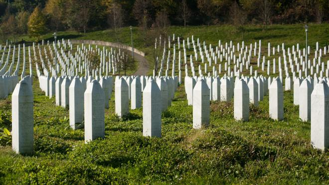 stone markers for victims of the genocide in the country of Srebrencia