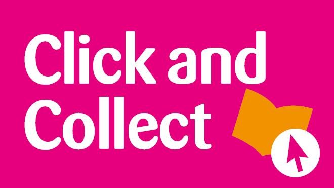 Click and collect text on pink background with mouse click and book logo