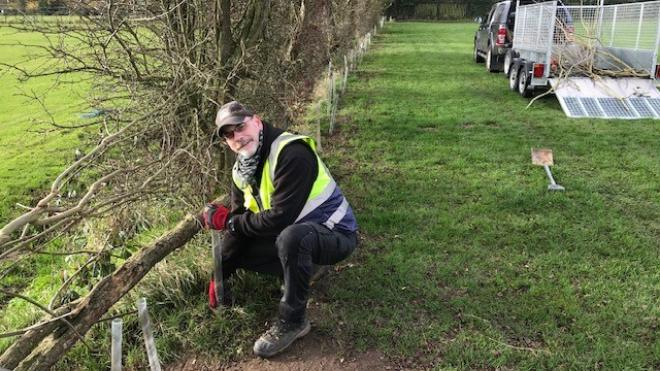 Man wearing high vis knelt down planting trees in a line