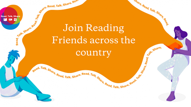 Join Reading Friends across the country. Graphic showing two people connected via reading.