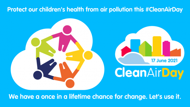 Clean Air Day 2021 banner - protect our children's health from air pollution