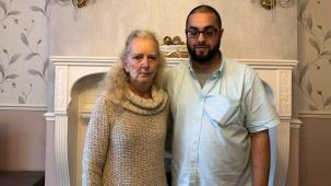 Jayne with her social worker Omair Ali