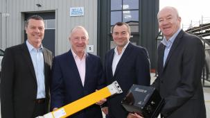 Representatives from Sella Controls Ltd and the county council standing outside new unit