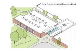 Architect drawing of a new school block