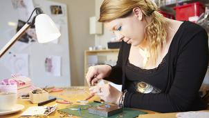 Person doing craftwork