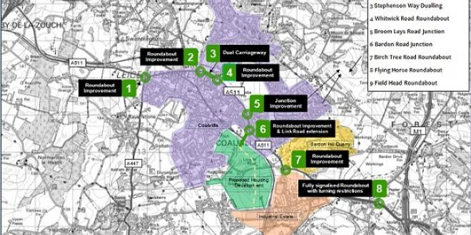 A map showing road improvement plans around Coalville