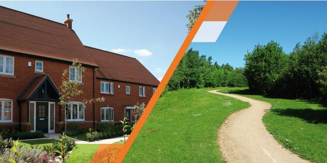 A split image showing a new house and a countryside footpath