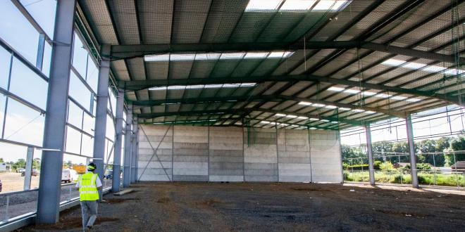 The inside of a business unit being built