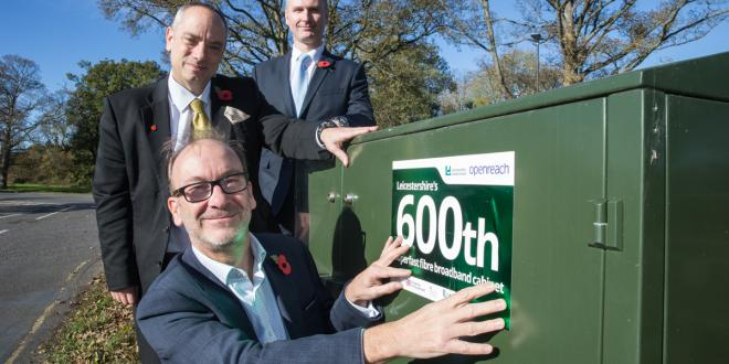 The 600th cabinet in Leicestershire has been connected to fibre broadband