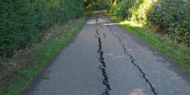 A number of roads, including Tinsel Lane, Sheepy, were damaged during the heatwave