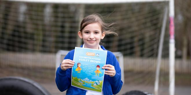 Violet Brown won £500 of sports equipment for her school after winning a healthy eating inspired competition