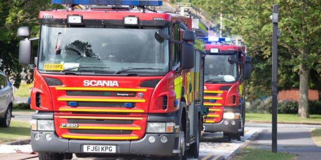 Fire engines outside County Hall