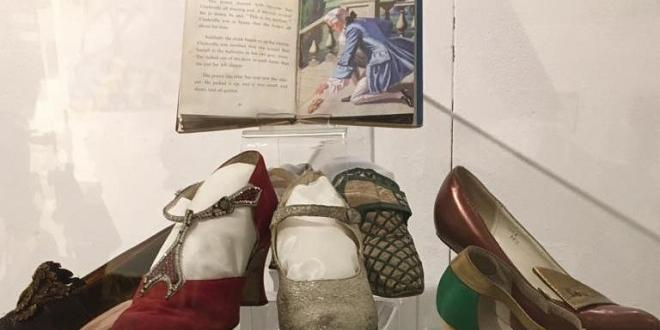 shoes and books in a museum
