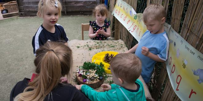 Youngsters at play in a childcare centre