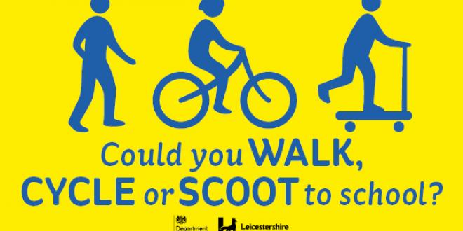 cartoon image encouraging people to walk, cycle, or schooter to school