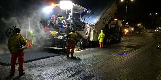 Asphalt containing recycled tyres has been used on the Blaby bypass