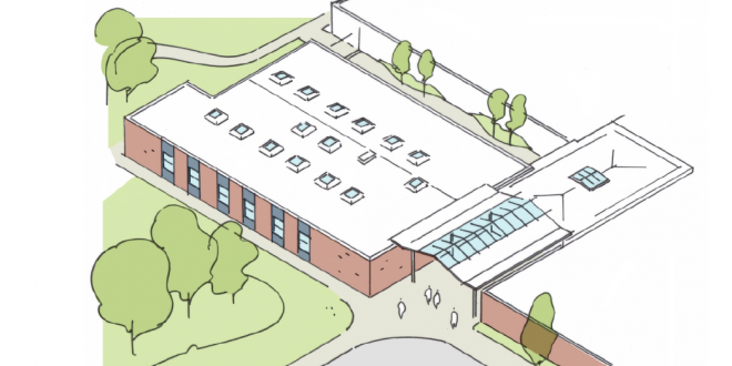 •An artist's impression of the new entrance and six classroom block at Iveshead Secondary School