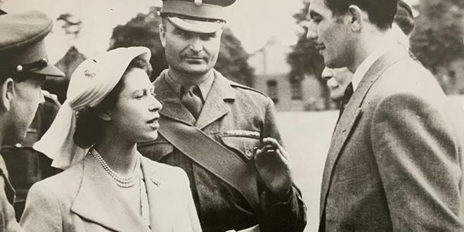 Jack Gardner being presented to the then Princess Elizabet