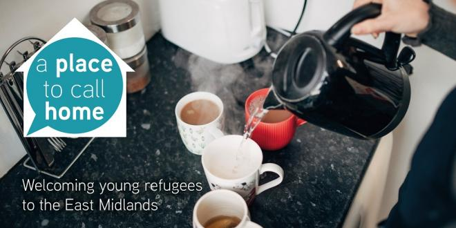 Someone holding a black kettle, making four cups of tea. The Place to Call Home Logo is on the left