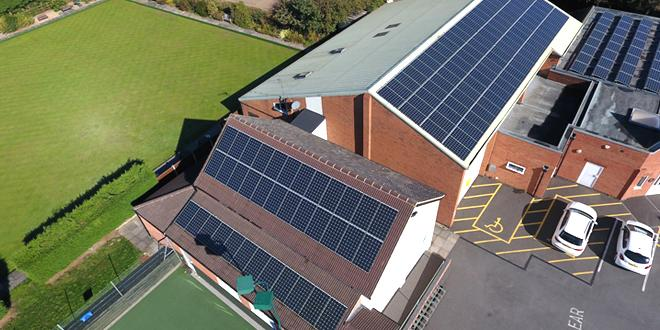 Solar panels on a building in Desford