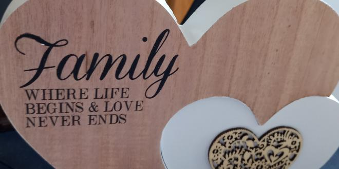Heart ornament saying Family - where life begins and love never ends