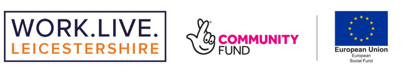 Work.Live, Community Fund and ESF logos